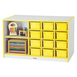 Jonti-Craft Rainbow Accents Mobile Storage Island - with Trays - Matching Trays and Edge