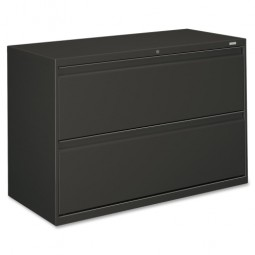 "HON Brigade 800 Series 2-Drawer Lateral File, with Lock, 42"", Charcoal"