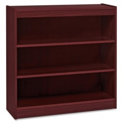 "Lorell 3-Shelf Panel Bookcase, 36"" x 12"" x 36"", Mahogany"