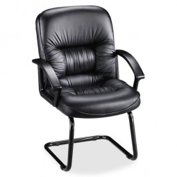 """Lorell Executive Guest Chair, 25¾"""" x 28¼"""" x 40¼"""", Black Leather"""