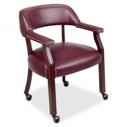 "Lorell Captain Chair, with Casters, 26"" x 24"" x 30¾"", Burgundy"