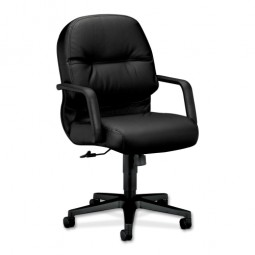 "HON 2090 Series Managerial Mid-Back Chair, 26¼"" x 28¾"" x 41¾"", Black Leather"