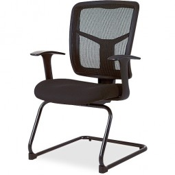 Lorell Ergomesh Mesh/Fabric Guest Chair, Black