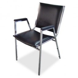 Lorell Stacking Chair with Plastic Arm - Black - Purchase in quantities of 4
