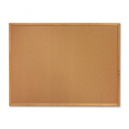 Sparco Cork Board, 6' x 4', Oak Frame