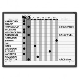 """Quartet Magnetic In/Out Board, 15 Name Capacity, 24"""" x 18"""", Gray"""