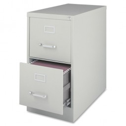 "Lorell Vertical File, 2-Drawer, 15"" x 26½"" x 28⅜"", Light Gray"