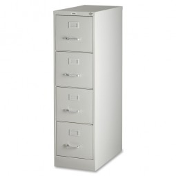 """Lorell 4-Drawer Vertical File, with Lock, 15"""" x 25"""" x 52"""", Light Gray"""