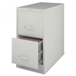 """Lorell 2-Drawer Vertical File, with Lock, 15"""" x 25"""" x 28⅜"""", Light Gray"""