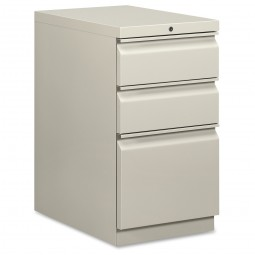 "HON Brigade Mobile Pedestal, Box/Box/File, R-Pull, 15"" x 22⅞"" x 28"", Light Gray"