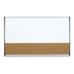 """Quartet Magnetic Dry Erase Combo Board, for Cubicle, 30"""" x 18"""", Silver Frame"""