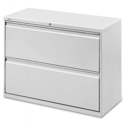 """Lorell Lateral File, 2-Drawer, 42"""" x 18⅝"""" x 28⅛"""", Light Gray"""
