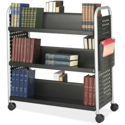 """Safco Scoot 2 Sided Cart, 6 Slanted Shelves, 41¼"""" x 17¾"""" x 41¼"""", Black/Silver"""
