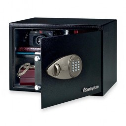 "Sentry Electronic Safe with Lock/Key, 17"" x 14¾"" x 10⅗"", Black"