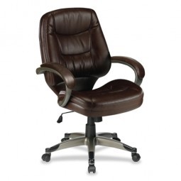"""Lorell Westlake Managerial Midback Chair, 26½"""" x 28½"""" x 43½"""", Saddle/CNE"""