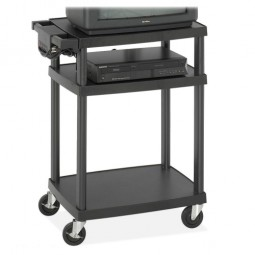 "Safco AV Cart, Plastic, Adjustable Height, 27¾"" x 18½"" x 42"", Black"