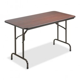 "Lorell Folding Table, 48"" x 24"" x 29"", Mahogany"