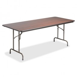 "Lorell Folding Table, 96"" x 30"" x 29"", Mahogany"