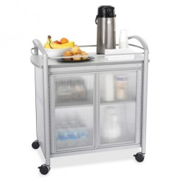 "Safco Impromptu Refreshment Cart, 4 Swivel Casters, 34"" x 21¼"" x 36½"", Gray"
