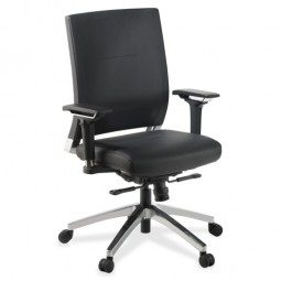 "Lorell Executive Swivel Chair, 28½"" x 28¼"" x 43½"", Black Leather"