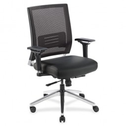 "Lorell Executive Swivel Chair, 28½"" x 28¼"" x 43½"", Black Mesh/Leather"