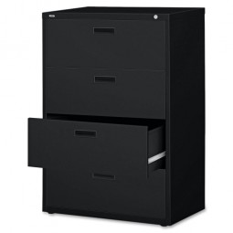 Lorell Lateral File, 4-Drawer, Black