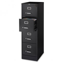 "Lorell Vertical File, 22"" Deep, Letter, Black"