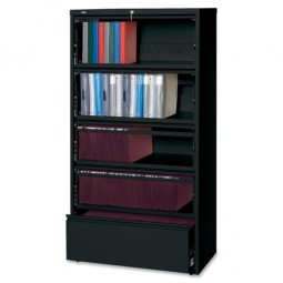 "Lorell Lateral File, RCD, 5 Drawer, 36"" x 18⅝"" x 68¾"", Black"