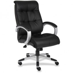 Lorell Classic Executive Leather Chair, Classic, Black/Silver