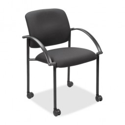"Lorell Stackable Guest Chair, with  Arms, 23½"" x 23½"" x 33"", Black"