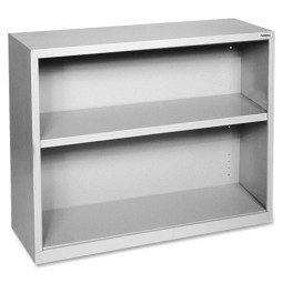 "Lorell Steel Bookcase, 2-Shelf, 34½"" x 13"" x 30"", Light Gray"