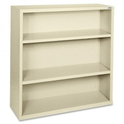 "Lorell Steel Bookcase, 3-Shelf, 34½"" x 13"" x 42"", Putty"