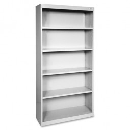 "Lorell Steel Bookcase, 5-Shelf, 34½"" x 13"" x 72"", Light Gray"