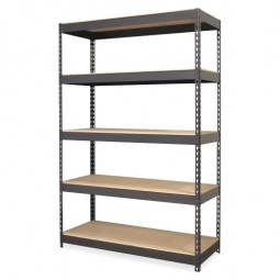 "Lorell Riveted Steel Shelving, 48"" x 24"" x 72"", Black"