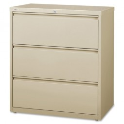 """Lorell Lateral File, 3-Drawer, 36"""" x 18⅝"""" x 40¼"""", Putty"""