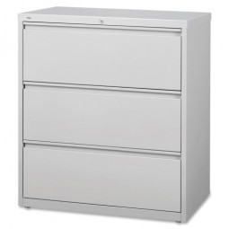"""Lorell Lateral File, 3 Drawer, 36"""" x 18⅝"""" x 40¼"""", Light Gray"""