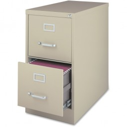 """Lorell Vertical File Cabinet, 2-Drawer, Letter, 15"""" x 28½"""" x 28"""", Putty"""