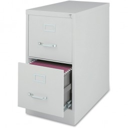 "Lorell Vertical File Cabinet, 2 Drawer, Letter, 15"" x 28½"" x 28"", Light Gray"