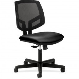 HON Mesh Task Chairs, Tilt, Black Leather
