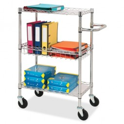 """Lorell 3-Tier Wire Rolling Cart, 16"""" x 26"""" x 40"""", Chrome"""