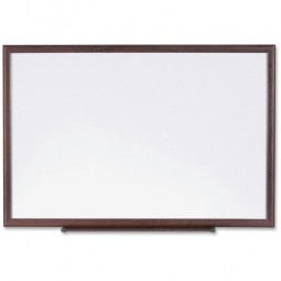 Lorell Dry-Erase Board, Wood Frame, 6' x 4', Brown/White