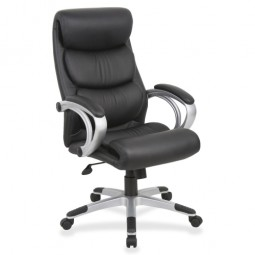 Lorell Highback Executive Chair, Leather, Black/Silver