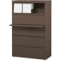 "Lorell Lateral File, 5-Drawer, 42"" x 18⅝"" x 67⅝"", Medium Tone"