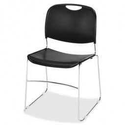"Lorell Wire Frame Stack Chair, 19⅜"" x 19¾"" x 30"", 4/Carton, Black"