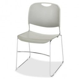 "Lorell Wire Frame Stack Chair, 19⅜"" x 19¾"" x 30"", 4/Carton, Gray"