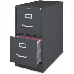 """Lorell Vertical File, 2-Drawer, 15"""" x 26½"""" x 28⅜"""", Charcoal"""