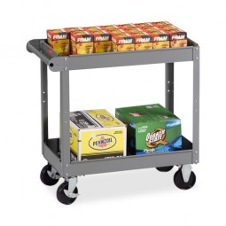 "Tennsco 2 Shelf Service Cart, 30"" x 16"" x 32"", Medium Gray"