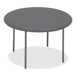 "Iceberg Round Folding Table, 600 lb Capacity, 48"" x 29"", Charcoal"