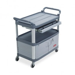 """Rubbermaid Instrument Cart, with Enclosed Shelf, 40⅗"""" x 20"""" x 37⅘"""", Gray"""