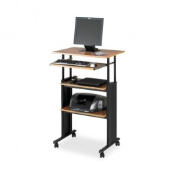 "Safco Stand Up Workstation, 29½"" x 22"" x 35"" to 49"", Black/Medium Oak"